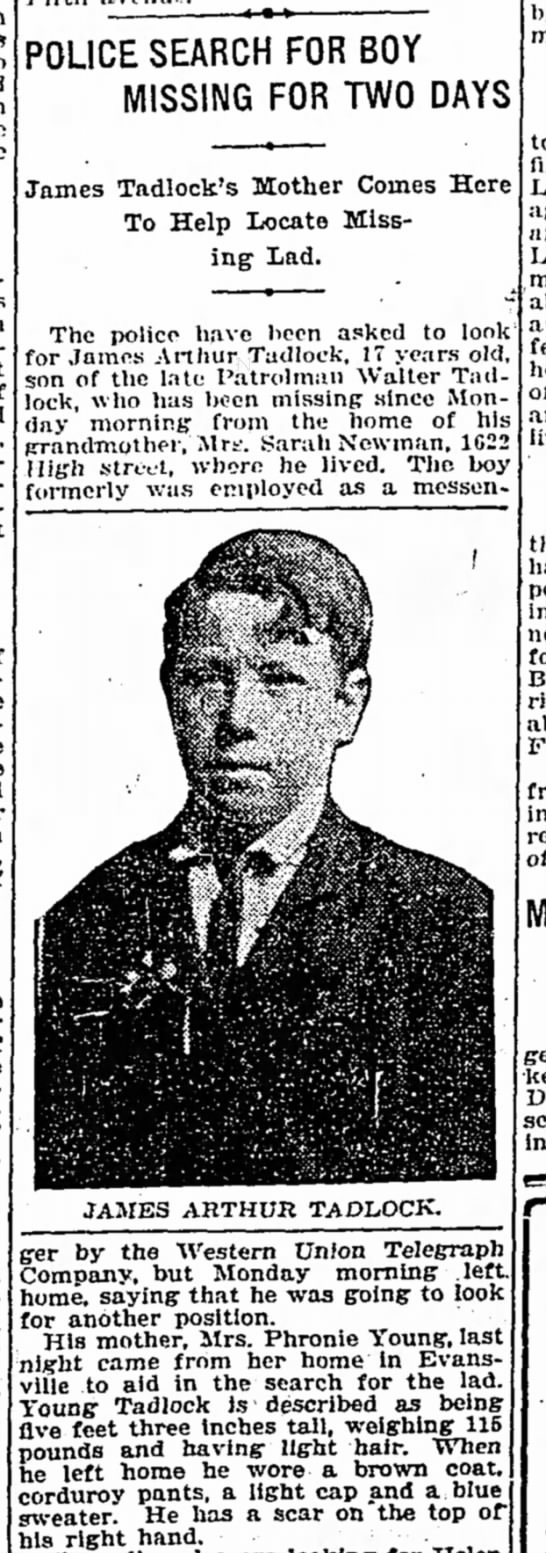 1916-James Arthur Tadlock missing