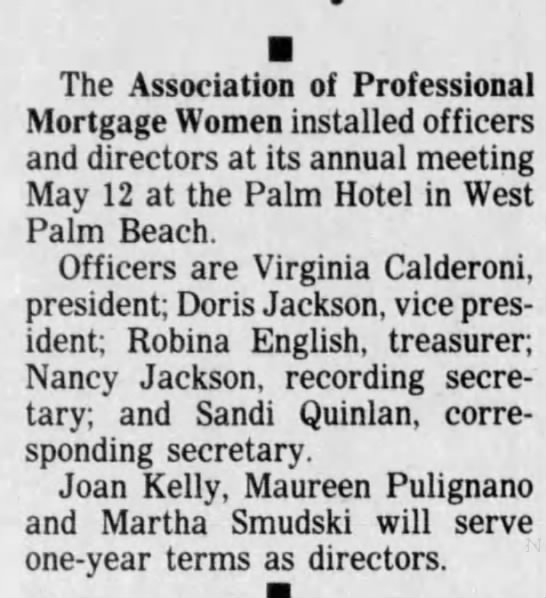 18 May 1988 Association of Professional Mortgage Woman