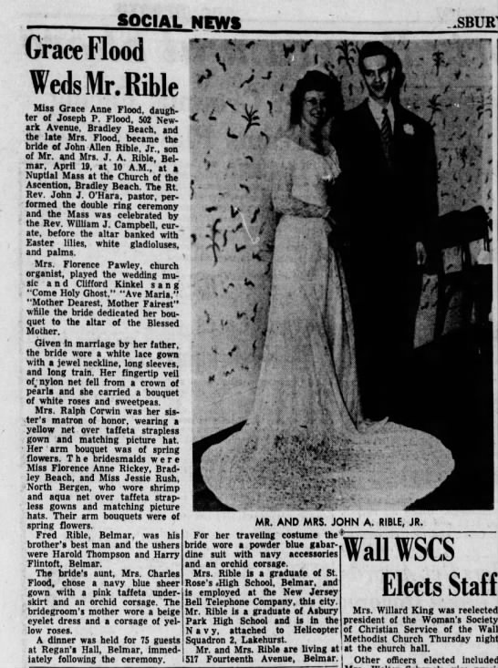 Grace Flood weds John Rible in 1952