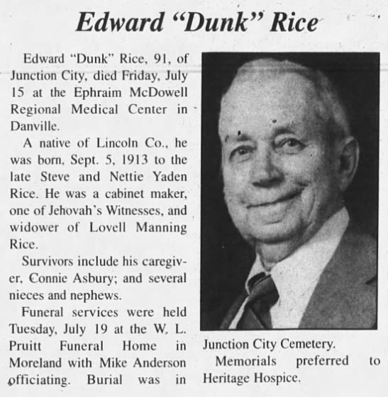 "Edward ""Dunk"" Rice (91) dies"