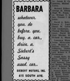 Ad Sieberts Used Car 615 south ave 1957