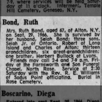Ruth Bullock Bond Obit 1966