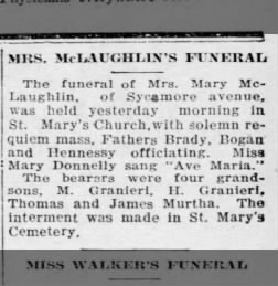 Obituary - Mary McLaughlin - grandsons bearers 10 Sep 1925