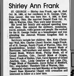 Shirley Ann Frank Obit