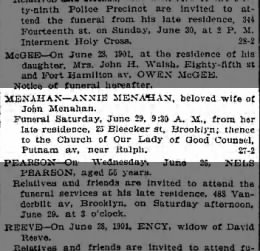 Annie Menahan obit Brooklyn Eagle 28 June 1901