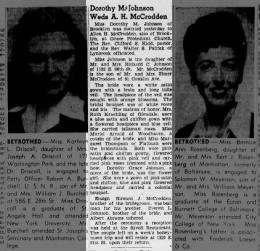 Wedding of AH McCrodden & Dorothy Johnson