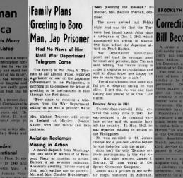 Family Plans Greeting to John V Tiernan, 21 April 1943 Brooklyn Daily Eagle