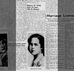 Irving H Peak and Barbara M Welsh Wed 30 Jan 1949 Brooklyn Daily Eagle