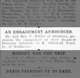 Engagement announce ward-kohler 3/26/1904