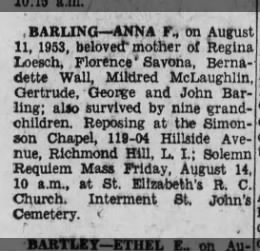 Anna Barling (Buell) Obituary August 11, 1953