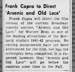 Frank Capra to Direct 'Arsenic and Old Lace'
