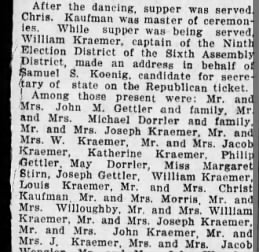 Kramer's at party 1908