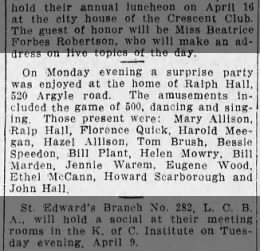 Party at 520 Argyle Rd as per Brooklyn Daily Eagle 7April1912 page 28