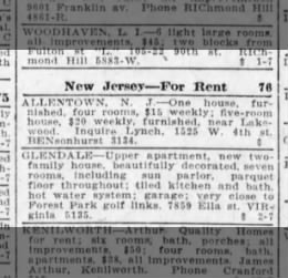 Lynch Rental Property in N.J. (1926)