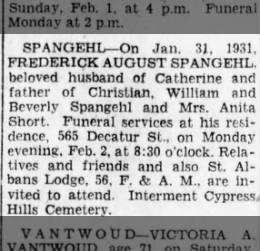 1 February 1931 - Frederick August Spangehl obit