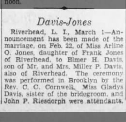 Elmer Davis - Arlene Jones Announcement, 1930