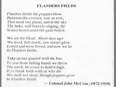 Poem that inspired memorial poppies