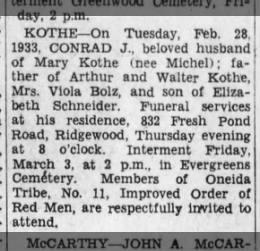 Conrad J Kothe d Feb 28 1933 New York Father of  Viola Kothe Bolz (m. to Louis Bolz)