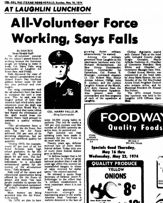 Harry Falls, Jr., speaks, May 1974