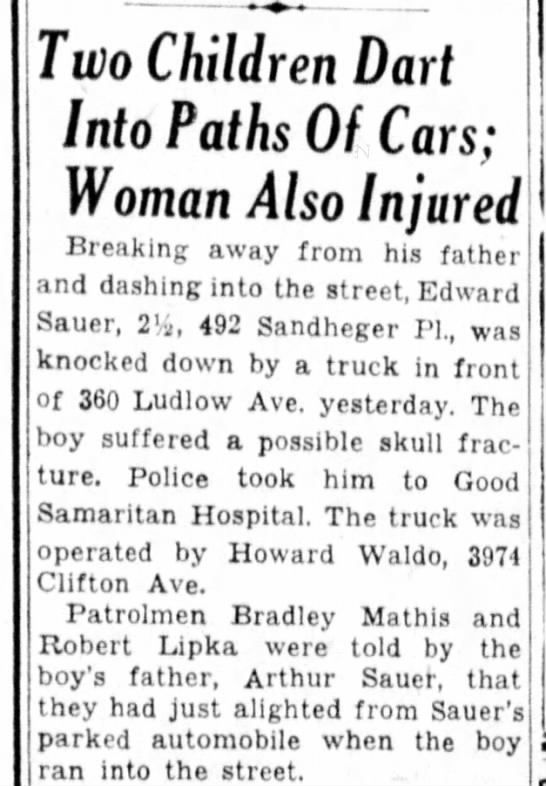 6 Sep 1946 Eddie Sauer suffers possible skull fracture.
