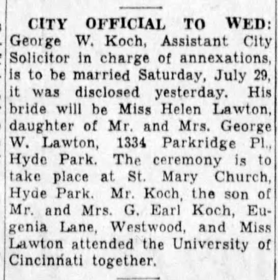 1950-07-19 Koch, George to wed Helen Lawton