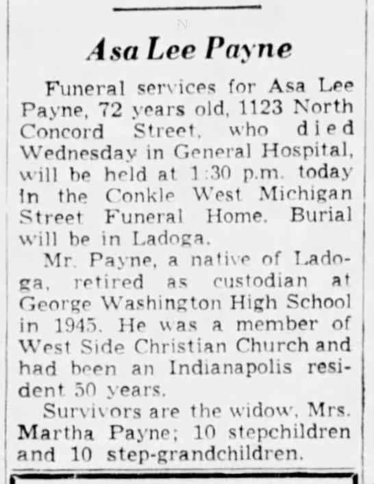 Asa Lee Payne Dead, 20 May 1953.