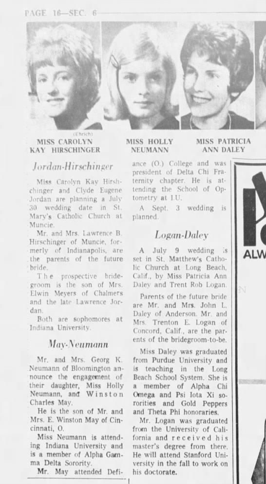 Indianapolis Star 1 May 1966 Holly Neumann - Winston May engagement