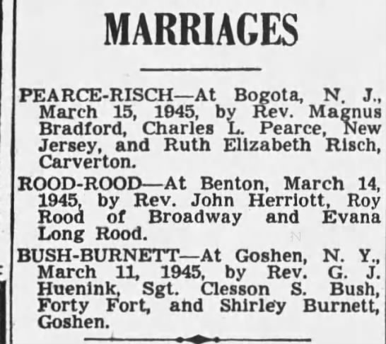 Ruth Risch and Charles Pearce marry, 1945