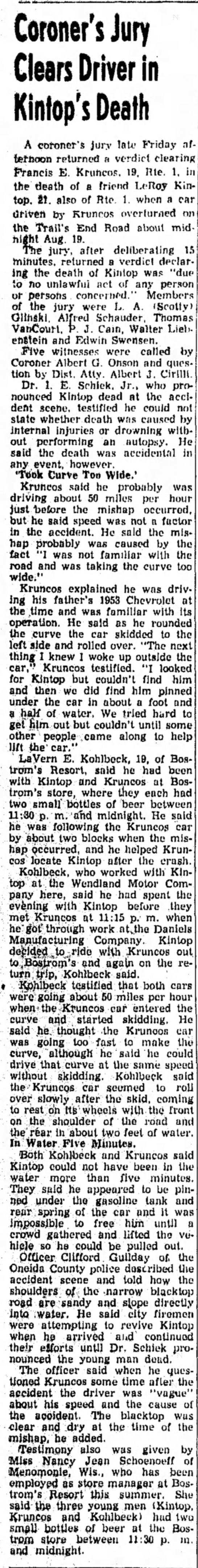 Francis Kruncos car accident August 1954