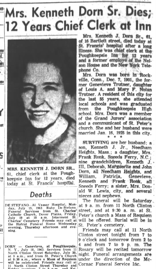Genevieve Trutner Dorn obituary Poughkeepsie Journal Thursday, July 18, 1963