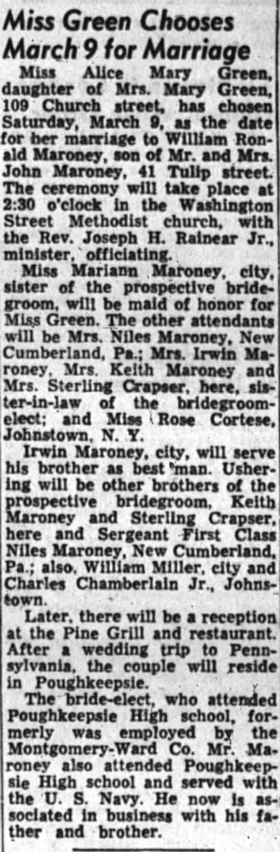 Miss Alice Green to Marry William Maroney.