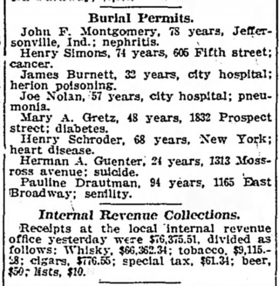 Drautman, Pauline Cohen-Burial Permit Nov 1913
