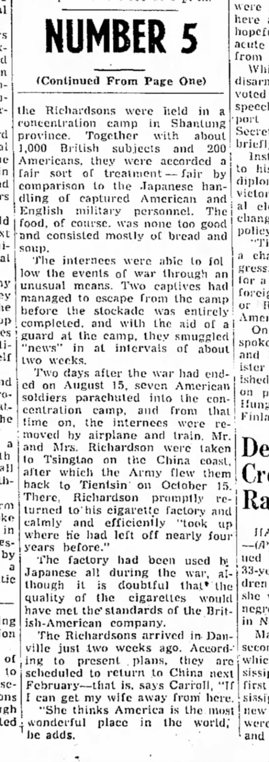 Continuation of November 12, 1946 article