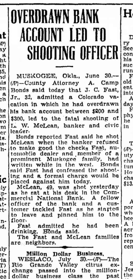 J.C. Fast, Jr. story in the Corsicana (Texas) Daily Sun 30 July 1937