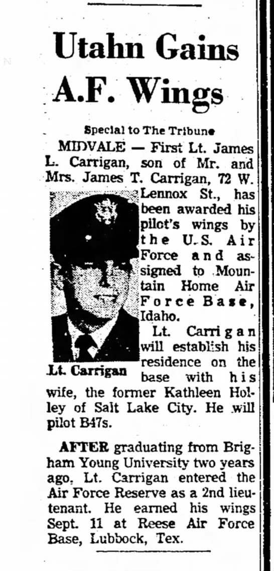 1963 Jimmie Carrigan gains Air Force Wings