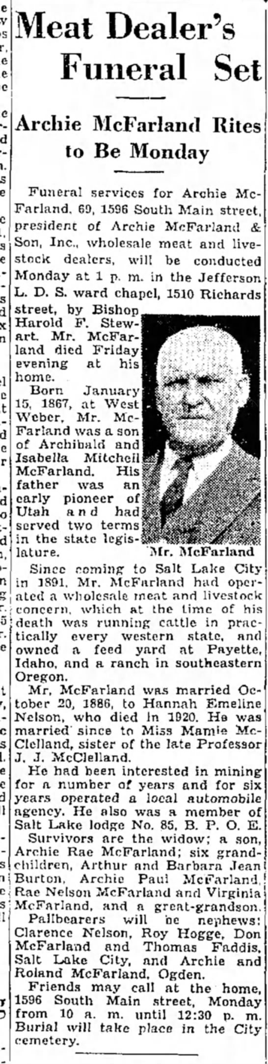 Obituary of Archie McFarland