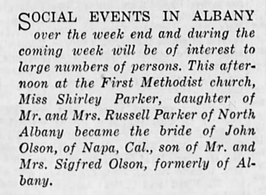 1950-3-18 Shirley married to John Olson (1 paragraph)