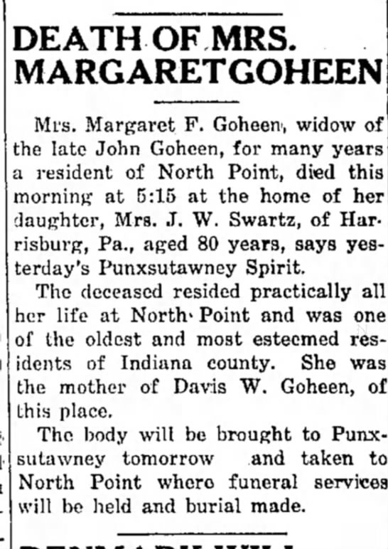 margaret f goheen widow of the late john article dated 15 dec 1916