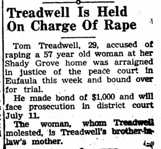 Tom Treadwell 29 Held on RapeJune 28, 1951