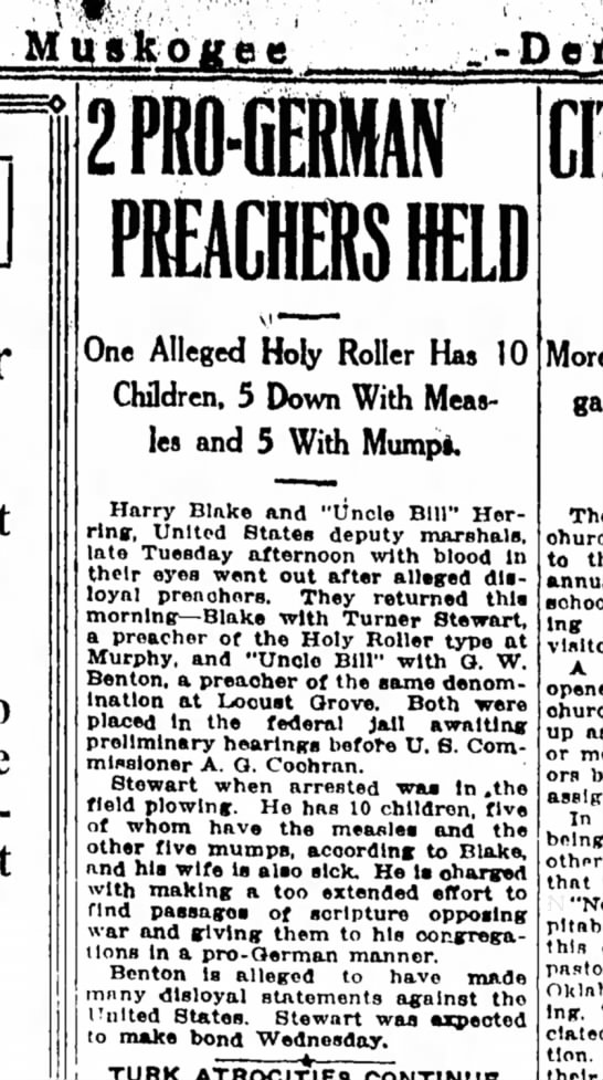 2 Pro German Preachers Held, Muskogee County Democrat, OK, 28 Mar 1918