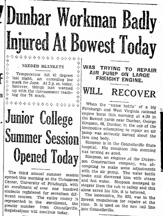 Dunbar Workman Injured at Bowest June 10, 1931