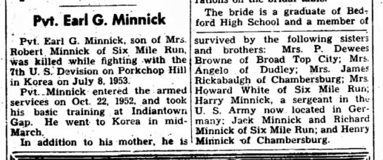 Earl G. Minnick-KIA-The Bedford Gazette-page 3-4 August 1953