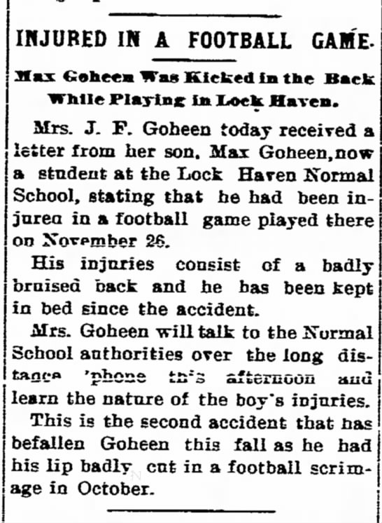 Mrs J.F. Goheen with son Max regarding football injury article dated 2 Dec 1904