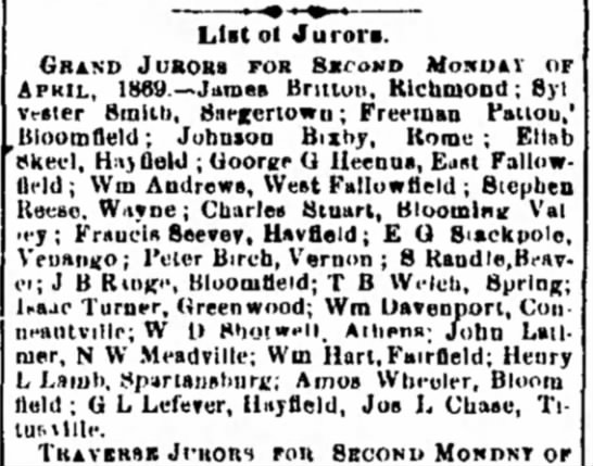 1869. Johnson Bixby, Grand Juror for Second Monday of April, 1869.