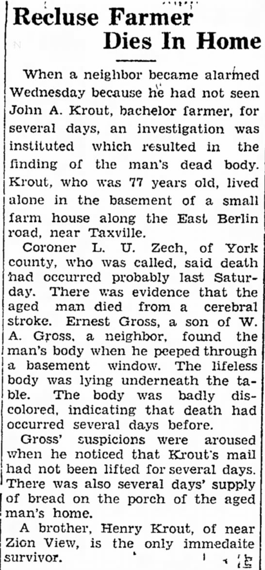 John A Krout death article-Jan 1933
