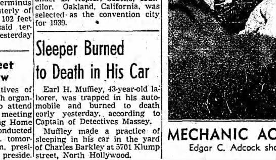 Earl Muffley Death 1938