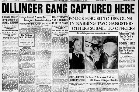 Front page announcing capture of Dillinger and gang in Tucson