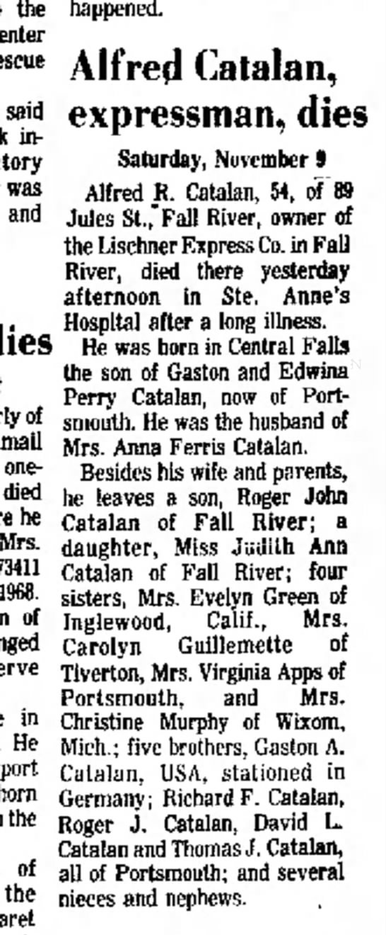 Alfred Catalan Obituary Newport Mercury, 15 Nove 1974 Page 2