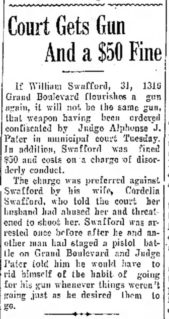 Court Gets Gun and $50 Fine 5 Aug 1930