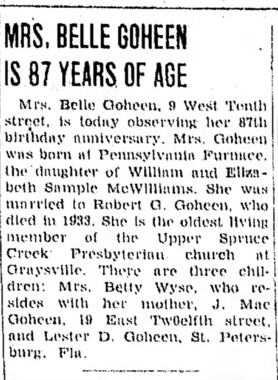 belle goheen birthday article dated 19 april 1954 wife of late robert g goheen